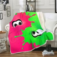 Wholesale teen full bedding resale online - Game Splatoon Octopus Pink Green Blanket D Printed Double Layer Sofa Travel Throw Blankets Teens Women Bedding Plush Quilt