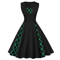 schöne rote partykleider großhandel-Schöne schwarze Gothic Kleid Frauen rot lässig elegante Retro Plus Size Kleider Party Print Patchwork Abend Sommer Kleid Vintage