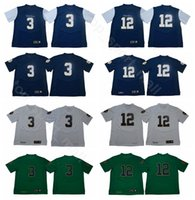 a8c260eef 2019 Notre Dame Fighting Irish Jerseys College Football 3 Joe Montana 12  Ian Book Jersey University Home Blue Away White Green