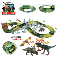 bloques de construcción set coches al por mayor-Dinosaur Orbit Diy Montaje Bloque de Construcción Carreras Vehículo Tren Tren Juguete Thomas Brio Space Car Set Juguetes Para Niños Niños Regalo