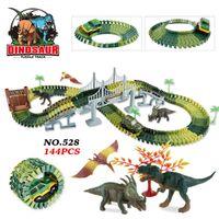 schlitzwagen gesetzt großhandel-Dinosaurier Orbit Diy Montage Baustein Rennfahrzeug Zug Schiene Spielzeug Thomas Brio Space Car Set Spielzeug Für Kinder Kinder Geschenk
