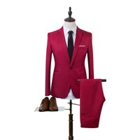 coreano moda masculina jaqueta venda por atacado-2018 Novos Projetos Casaco Terno de Calça Homens Cor Sólida Casamento Smoking Para Homens Slim Fit Ternos Dos Homens Coreano Moda (jaquetas + Calças)
