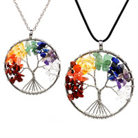 Wholesale amethyst silver necklace set for sale - Group buy 12Pcs Set Tree of Life Necklace Chakra Stone Beads Natural Amethyst Sterling silver jewelry Chain Choker Pendant Necklaces for Women Gift
