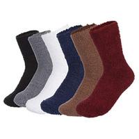 6f04797fe21 6 paires de chaussettes pour femmes hiver couleur solide épais chaud  chaussettes pour la maison homme confortable chaussettes en molleton de  corail Meias  Z