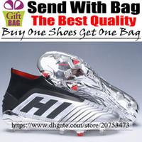 bot futbol markası toptan satış-Marka Yeni Predator 19 FG Futbol Ayakkabıları Orijinal Erkek Deri Futbol Boots Çorap Yüksek Ayak Bileği Futbol Cleats Gümüş Siyah Boyutu 6.5-11.5