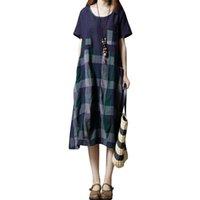 a164b1253206b3 Frauen Baumwolle Leinen Kleid Plaid Karierten Print Kurzarm Vintage  Sommerkleid Beiläufige Lose Sommer Mitte Der wade Kleid Rot / Grün Robe