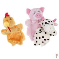 kaliteli kuklalar toptan satış-1 Adet Klasik Sevimli Karton Hayvan El Kukla Oyuncaklar Peluş Kuklalar Domuz Tavuk Inek Bebek Bebek Oyuncak Hayvanlar Oyuncak Yüksek Kalite