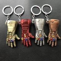demir tasarımları toptan satış-Avengers Endgame Demir Adam Infinity Dayağı Eldiven Tasarım Alaşım Anahtar Zincirleri Anahtarlık Anahtarlık Cosplay Sahne Hediye
