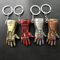 guantes de planchado al por mayor-Avengers Endgame Iron Man Infinito Guante Diseño Diseño Aleación Llaveros Llavero Llavero Cosplay Atrezzo Regalo