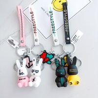 Wholesale cute rabbit figure resale online - Creative Cute Rabbit Keychain Funny Cartoon Aniaml Key Ring for Women Men Car Key Chain Bag Pendant Accessories Gift