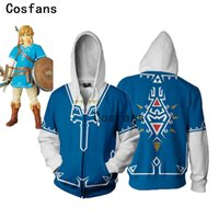 zelda link cosplay kostüme großhandel-COSFANS New The Legend Of Zelda Cosplay Kostüm Set Kampf Sweater Spiel Skyward Sword Link Kapuzenjacke mit Reißverschluss für Männer, Frauen