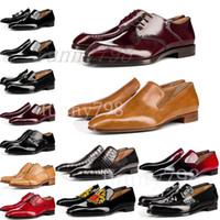 bas habillés en cuir pour hommes achat en gros de-[avec boîte] 2019 Red Bottoms marque de luxe chaussures pour hommes robe formelle chaussures en cuir véritable hommes rouge Bottom Designers chaussures