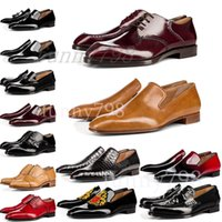 Wholesale luxury brands designer formal shoes for sale - Group buy with box Red Bottoms luxury designer brand chaussures mens dress formal shoes Genuine Leather men Red Bottom Designers Shoes
