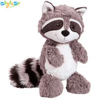 juguetes grises al por mayor-Gris mapache de peluche de juguete encantador mapache lindo suave animales de peluche muñeca almohada para niñas niños niños bebé regalo de cumpleaños 25 cm