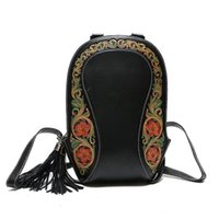 Wholesale genuine leather china resale online - China Flower Style Genuine Leather Hand Engraved Zipper Closure Female Women Tassel Backpack Vintage Lady Small Floral Backpack