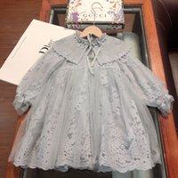 robe à manches longues deux couleurs achat en gros de-Enfants châle enfants vêtements de marque châle robe Automne manches longues en dentelle robe châle perle couture deux couleurs taille 100-140cmnew