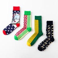 ingrosso moda mens calzini colorati-calze di marca del progettista delle donne degli uomini calzino del cotone di profilo di alto profilo transfrontaliero Modo variopinto coppia calzini felici Nuovo stile