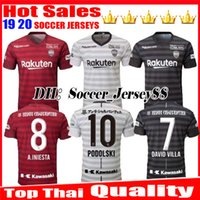 camiseta de fútbol de alta calidad tailandesa al por mayor-2019 2020 camiseta de fútbol de calidad superior tailandesa Vissel Kobe hogar lejos tercero 19 20 A.INIESTA PODOLSKI DAVID VILLA rojo negro blanco camisetas de fútbol