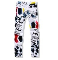 3d moda boya toptan satış-Erkek Kot Pantolon Sonbahar Yeni Adam Rahat Pantolon Moda 3D Boyalı Kot Beyaz Sıska Pamuklu Pantolon Vaqueros Hombre