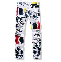 homens pintados calças casuais venda por atacado-Mens Denim Calças Outono Novo Homem Calças Casuais Moda 3D Pintado Jeans Branco Calças de Algodão Magro Vaqueros Hombre