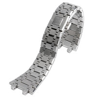 сплошные часы оптовых-28mm Wrist Band Strap Solid Link Stainless Steel Bracelet Silver For AP Watch Push Button Replacement Men + 2 Spring Bars