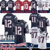93cc5df7e 12 Tom Brady 87 Rob Gronkowski New Patriots Jersey 2019 Super Bowl LIII 11  Julian Edelman 10 Josh Gordon Brandin Cooks 15 Amendola Harrison