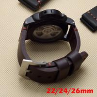 bracelets de montres en cuir vintage achat en gros de-Brun Noir 22mm 24mm 26mm Epaisseur Vintage Bracelet en cuir véritable Remplacer PAM PAM111 Big Pilot Watch Wristband