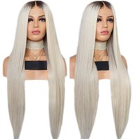 Wholesale ombre white black wigs resale online - Black Roots Ombre Platinum Straight Synthetic Lace Front Wig Heat Resistant Wigs Natural Hairline For White Women Wigs