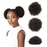 elastische haare brötchen großhandel-4 # Afro verworrene lockige flauschige Haargummi Haarteil Puff Pferdeschwanz Haarknotenverlängerungen mit elastischen Kordelzug-Clips für afroamerikanische Frauen