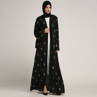vestido muçulmano casual venda por atacado-Buytiz Casual Malha Preta Muçulmano Abaya Maxi Vestido Longo Robe Vestidos Kimono Ramadan Árabe Dubai Caftan Oração Islâmica Roupas