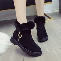 Wholesale womens fashion warm winter boots resale online - Winter Boots Women Flock Snow Boots Faux Fur Casual Warm Plush Shoes Womens Slip On Wedges Fashion British Style Ankle Boot G8
