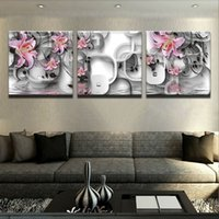 lírios cor de rosa venda por atacado-Fundo bonito Abstract Pink Lily Flores Fallout Pintura Sets Painel 3 Cuadros Wall Art Por Living Room Decor Modular