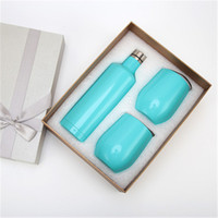 Wholesale mugs gift sets resale online - Wine Bottle Gift Box Wine Tumbler Beer Red Wine Cup Double Wall Stainless Steel Vacuum Insulated Mugs Swig Egg Cups Creative Set