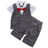 Wholesale birthday clothes for baby boy resale online - Baby Clothes Boys suits for wedding Kids British Wind Birthday Dress Boygentleman suit Children clothing disfraz blazer pants
