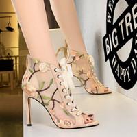 dantel balık ağzı toptan satış-2019 stil seksi ince yüksek topuklu örgü ajur dantel çiçek nakış konu ile balık ağzı sandalet sandalet