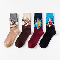 calcetines extranjeros al por mayor-Calcetines de marca para hombre diseñador de la marca para mujer Calcetines de algodón de la marca del cuello Cuello calcetines de algodón de la pintura al óleo Calcetines de algodón de comercio exterior