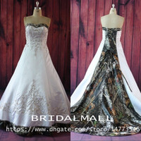Wholesale sexy beach wedding dresses online - Beading Appliqued White Satin Realtree Camo Wedding Dresses Printed Forest Lace up Camouflage Bridal Gowns Plus Size Vestidos De Novia