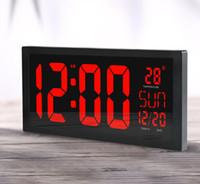 termómetros grandes al por mayor-HD LED Pantalla grande Reloj de pared Reloj de calendario para el hogar Reloj Horario de verano Función LED Reloj electrónico con termómetro