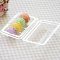 cajas de plástico macaron al por mayor-Blister Packaging Fourfold Snack Box Roll Cake Cake Plástico transparente Macaron Cajas de embalaje Envío rápido ZC0044