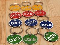 anéis chaves venda por atacado-100 pcs Novo padrão de Liga de Alumínio Sinal de Metal Chaveiro Signage Com Anel Digital Etiqueta Tag Cartão de Número Placa Com Chaveiro