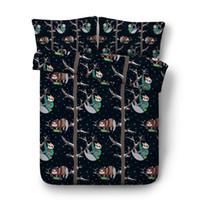 ingrosso re di piuma del panda-Cute Smiling panda Copripiumino Baby panda su rami di albero 3 pezzi Set biancheria da letto con 2 cuscini Shady pigro Sleepy Bear tema Tribe di Australi