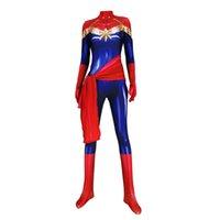 traje zentai maravilha venda por atacado-Adulto Ms Os Vingadores Capitão Marvel Cosplay Lycar Spandex Alta Qualidade Capitão Marvel Superhero Zentai Bodysuit Partido Macacão