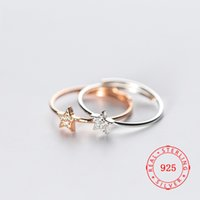 ingrosso porcellana di zircone-Guangzhou Clear CZ pavimenta gli anelli a forma di stella in argento sterling 925 per le donne Zircon Diamond Open Ring Jewelry ultimi modelli di anelli realizzati in Cina