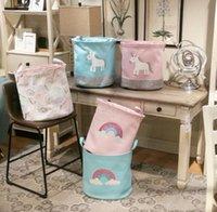 tela estampada de arco iris al por mayor-Unicornio Canasta de almacenamiento para juguetes Tela Arco iris Impreso Canasta de ropa para niños Plegable Canasta de lavandería LJJK1305
