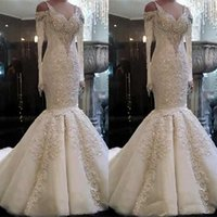 Wholesale strapless organza lace wedding dress for sale - Group buy 2020 Plus Size Mermaid Wedding Dresses Sweetheart Neck Lace Appliques Sweep Train Bridal Gowns Custom Made