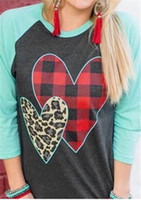 Wholesale leopard girl tee shirt resale online - S XL Women Pullover Wrist Length Sleeve T shirt Spring Plaid Leopard Heart Print Sanding Tee Tops Valentine s Day Gifts for Girls