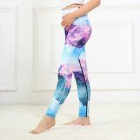 leggings médio venda por atacado-Calças Meninas Médio Primavera e Outono Impresso Cintura Alta Leggings Esportivos das Crianças Designer de Calças de Yoga do Miúdo