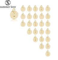 Wholesale alphabet pendant for bracelet resale online - Hot Sale mm Initial Letter Pendant Charm Silver Gold Rose Gold for Bangle Bracelet Necklace Small A Z Alphabet Diy Charm Jewelry Access