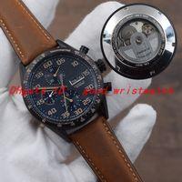 calibre 16 relógio automático venda por atacado-Calibre casual 16 Mens mecânico automático assistir shell de aço inoxidável preto cinta de couro marrom calendário de dia da semana transparente