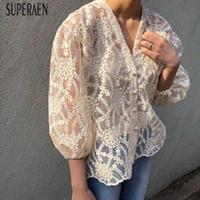 nakışlı gömlek bluz toptan satış-Superaen V Yaka Kadın Gömlek Vahşi Moda Rahat Dantel Işlemeli Bluzlar Ve Üstleri Kadın Yaz Ve Bahar Yeni 2019 ShirtsMX190824